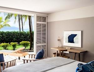 View onto your private terrace from within a Premium Beach Club Room