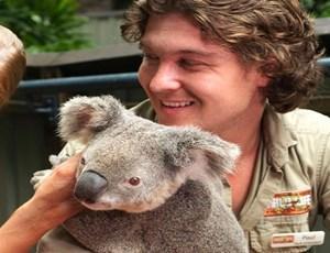 Family with a koala at Wild Life Hamilton Island