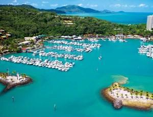 Aerial shot of Hamilton Island's Marina and luxury yachts