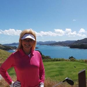 Kerrie Anne Kennerley enjoys golf here with us.