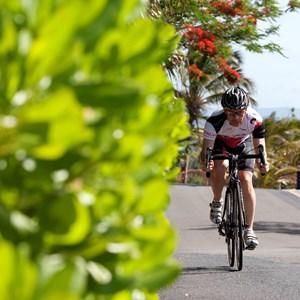 Cyclist completing in the Hamilton Island Triathlon