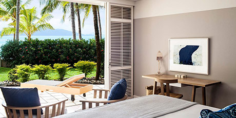 View onto your private terrace from within a Beach Club Room, Whitsunday Islands