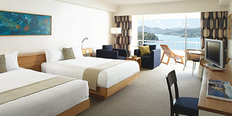 Family holiday packages - Coral sea view twin room at the Reef View Hotel on Hamilton Island