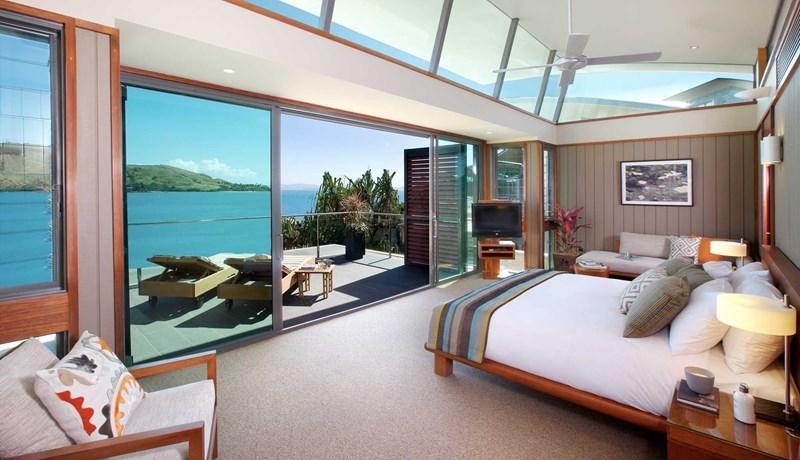 Hamilton Island Yacht Club Villa spacious bedroom overlooking Dent Passage