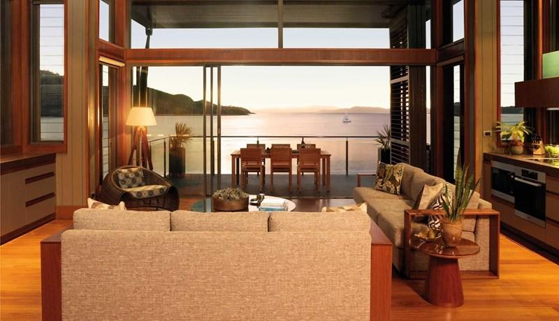 Yacht Club Villa lounge room overlooking Dent Passage