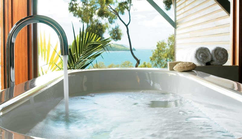 Bath with a view at qualia