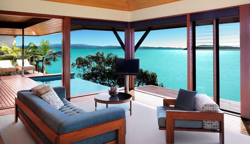 Views from qualia's Windward Pavilion lounge room
