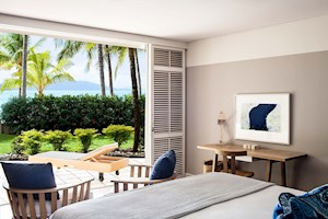 View onto your private terrace from within a Premium Beach Club Room, Whitsunday Islands
