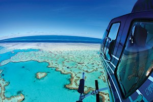 Helicopter flight over the beautiful Heart Reef, Australia