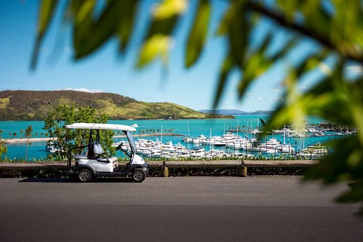 Golf buggy at Hamilton Island marina hire