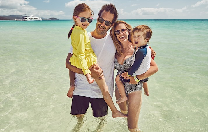 Jason Ierace Family at Whitehaven beach on Hamilton Island Holiday