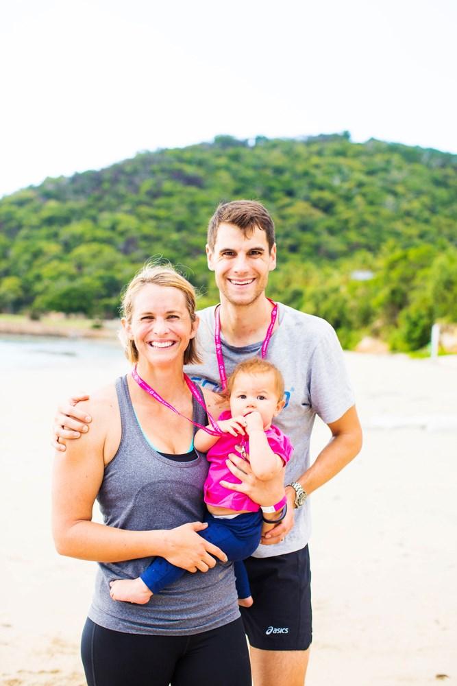 Libby Trickett Luke and poppy at Active Womens Weekend Hamilton Island family catseye beach