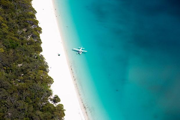 Seaplane at Whitehaven beach from Hamilton Island