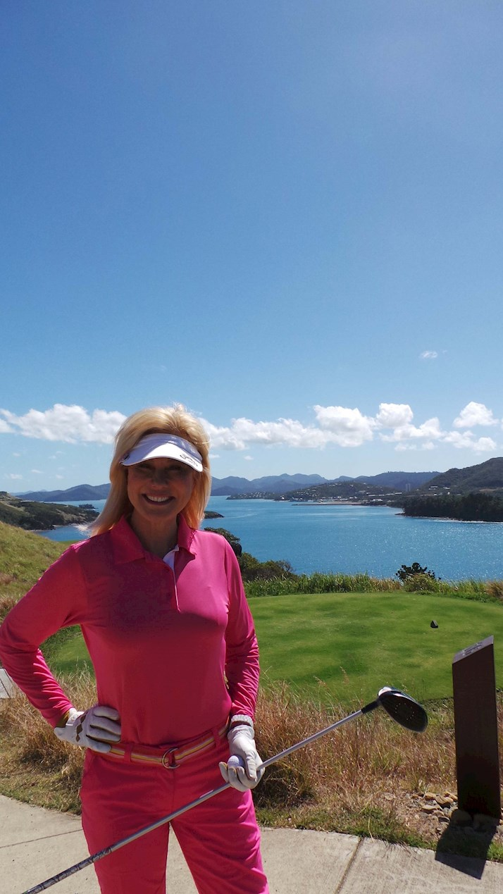 Kerrie Anne Kennerley enjoys her golf holiday on Hamilton Island