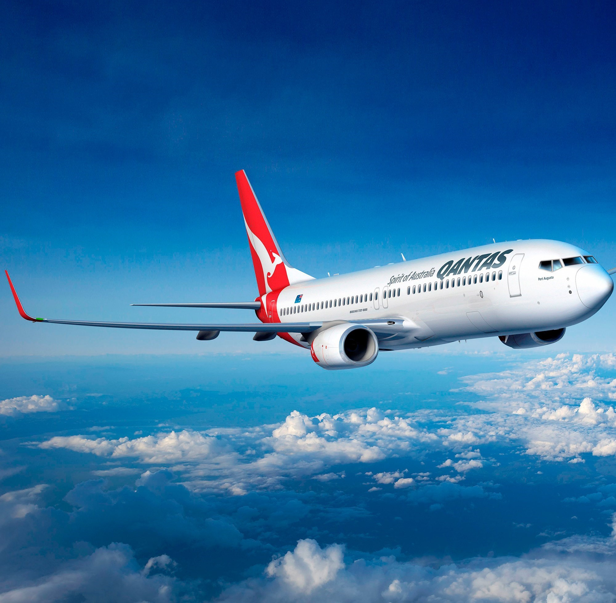 Qantas B737-800. Many people prefer Australia's largest airline company when heading for a family beach vacation on Hamilton Island's luxury resorts