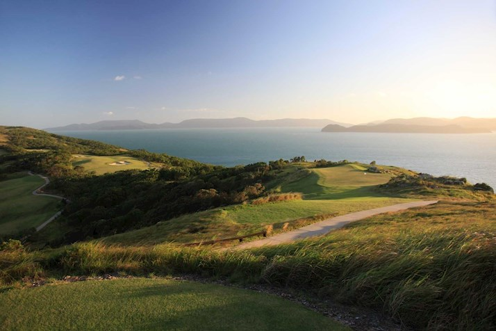 Sunset over the Hamilton Island golf course