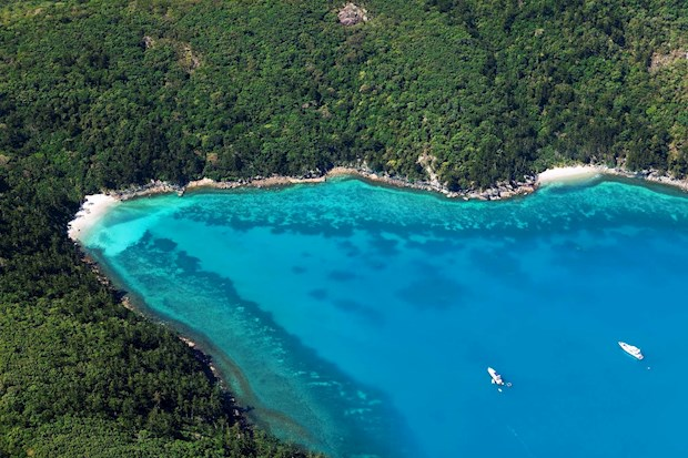 Aerial shot of Hamilton Island's gorgeous water, beautiful nature and shores. A must visit summer holiday destination