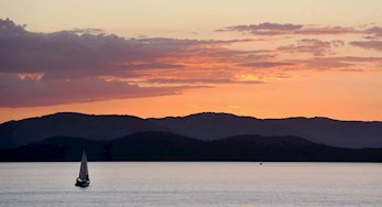 Yacht at gorgeous sunset on Hamilton Island