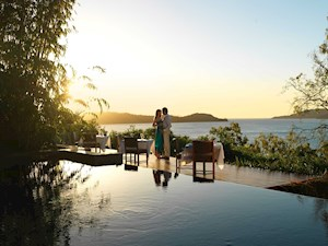 Sunset romantic dining at qualia's Long Pavilion restaurant, Hamilton Island - top romantic holidays destination
