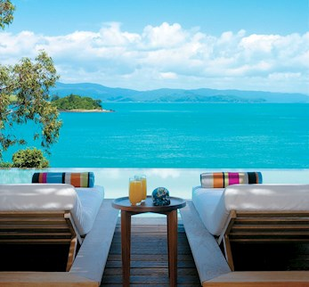 Gorgeous view from Hamilton Island hotel day beds at qualia
