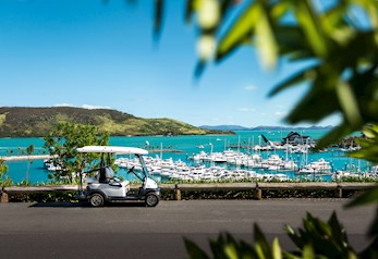 Buggy overlooking the Hamilton Island Marina