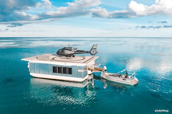 Journey to the Heart. Heart Reef and Heart Island pontoon helipad © Hamilton Island, SaltyWings