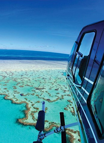Take an aerial helicopter tour of the Great Barrier Reef from Hamilton Island