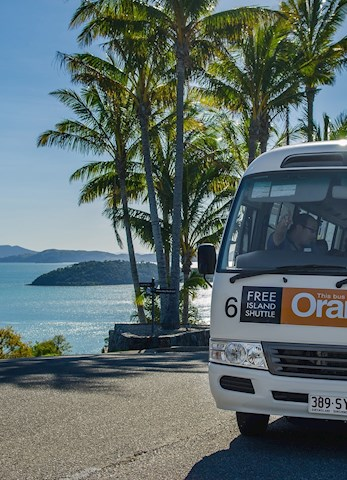 Free shuttle bus around the island - Hamilton Island