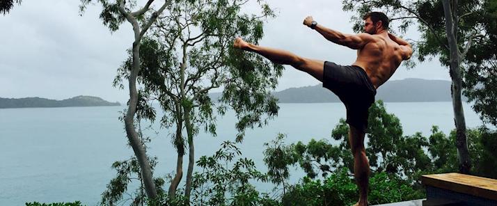 Chris Hemsworth at qualia resort on Hamilton Island