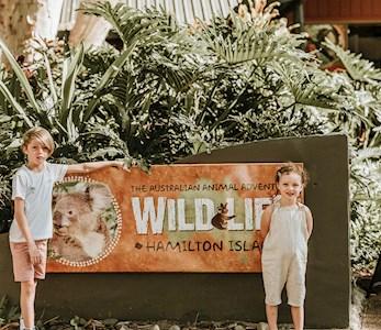 Kids at Wildlife park at Hamilton Island zoo