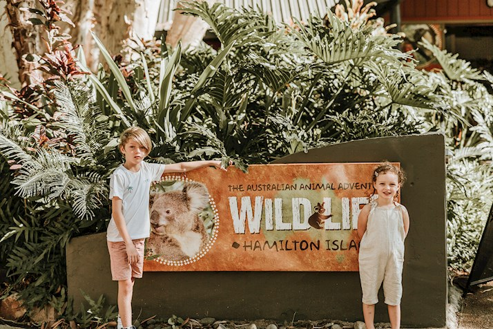 Kids at Wildlife park at Hamilton Island zoo