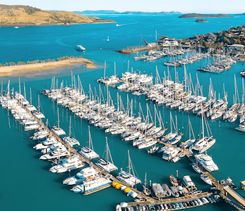Aerial of Marina during Hamilton Island Race Week