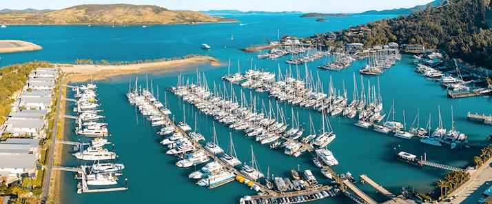 Aerial of Marina during Hamilton Island Race Week