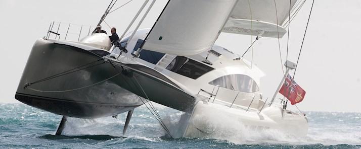 See the TAG 60 yacht hull flying at Audi Hamilton Island Race Week - Hamilton Island holiday packages