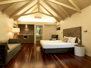 Inside a Palm Bungalows room with kitchenette - Hamilton Island bungalows
