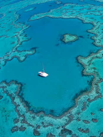 Aerial shot of the Heart Reef, Australia