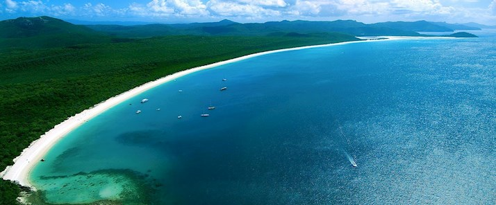 See the amazing Whitehaven Beach from the air - romantic holidays Hamilton Island